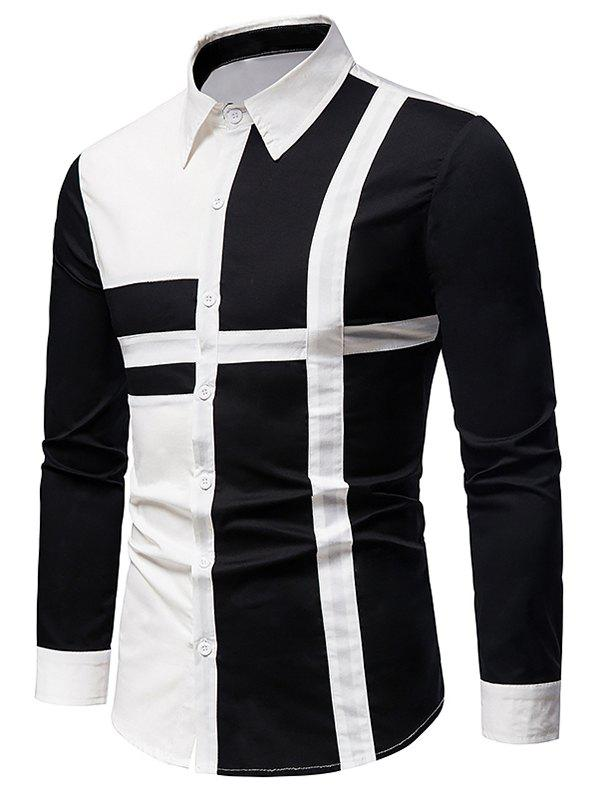Outfit Button Up Cross Print Contrast Shirt