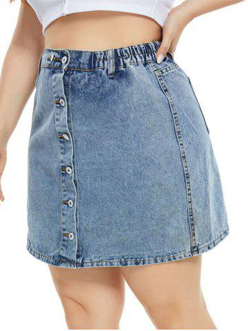 Zippered Hem Button Up Plus Size Denim Skirt - BLUE - 3XL