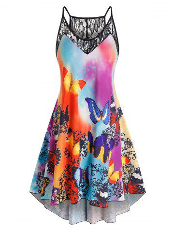 Plus Size Butterfly Print Lace Panel High Low Dress - MULTI - 2X