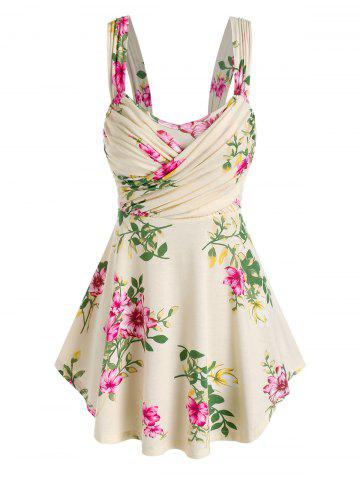 Floral Print Ruched Crossover Tank Top