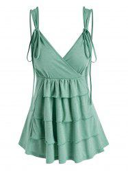 Layered Strappy Surplice Tank Top -