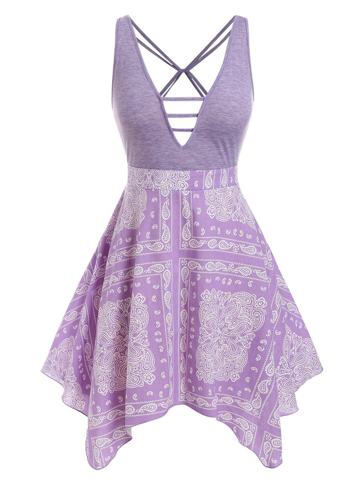 Outfit Plus Size Plunge Strappy Paisley Print Handkerchief Dress