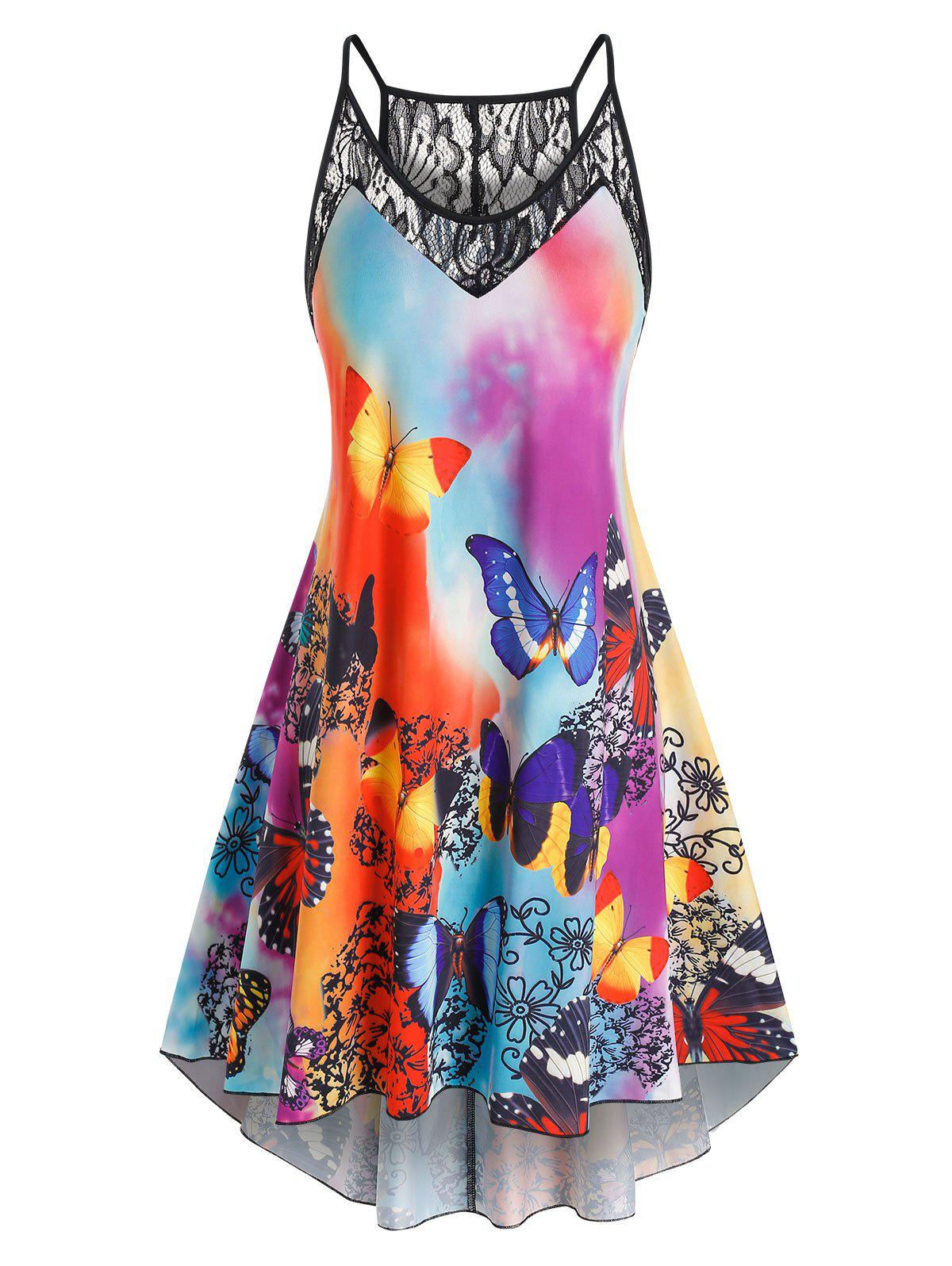 Cheap Plus Size Butterfly Print Lace Panel High Low Dress