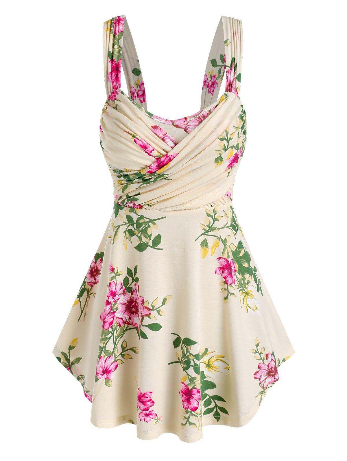 Buy Floral Print Ruched Crossover Tank Top