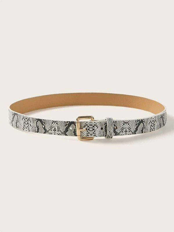 Online Snakeskin Patterned Square Pin Buckle Belt
