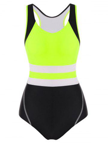 Neon Colorblock Racerback Cutout One-piece Swimsuit - YELLOW - 2XL