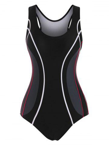 Contrast Piping Colorblock Racerback One-piece Swimsuit - BLACK - 2XL