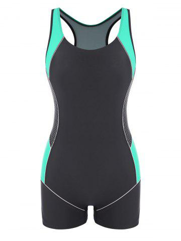 Colorblock Sporty Racerback Cutout One-piece Swimsuit - MULTI - 2XL