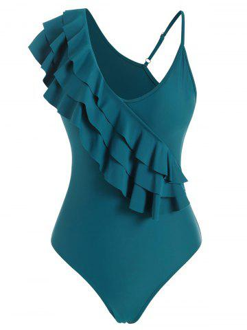 Layered Flounce Skew Neck One-piece Swimsuit - BLUE - S