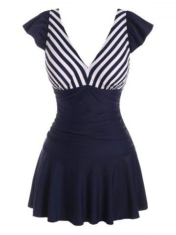Cap Sleeve Sailor Striped One-piece Swimdress - DEEP BLUE - XL