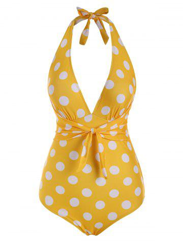 Tied Plunge Front Polka Dot Halter One-piece Swimsuit - YELLOW - M