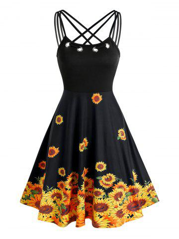 Grommet Strappy Sunflower Patterned Dress