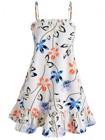 Flower and Leaves Print Cami Dress