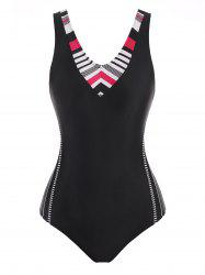 Racerback Striped Cutout One-piece Swimsuit -