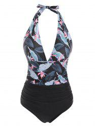 Halter Tropical Print Plunge Front Tummy Control One-piece Swimsuit -