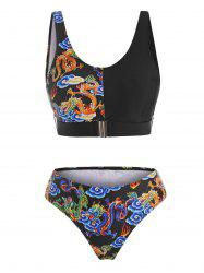 Front Closure Dragon Print Oriental Tank Bikini Swimwear -