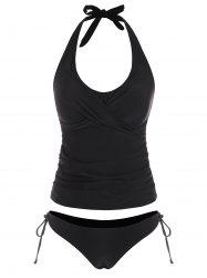 Twisted Halter Ruched Tie Side Tankini Swimwear -