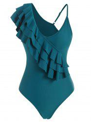 Layered Flounce Skew Neck One-piece Swimsuit -