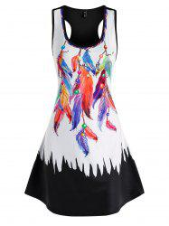 Colored Feather Printed Mini Tank Dress -