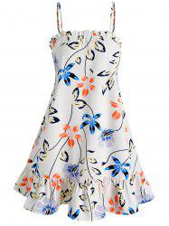 Flower and Leaves Print Cami Dress -