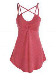 Strappy Ruched Curved Hem Heathered Cami Top -