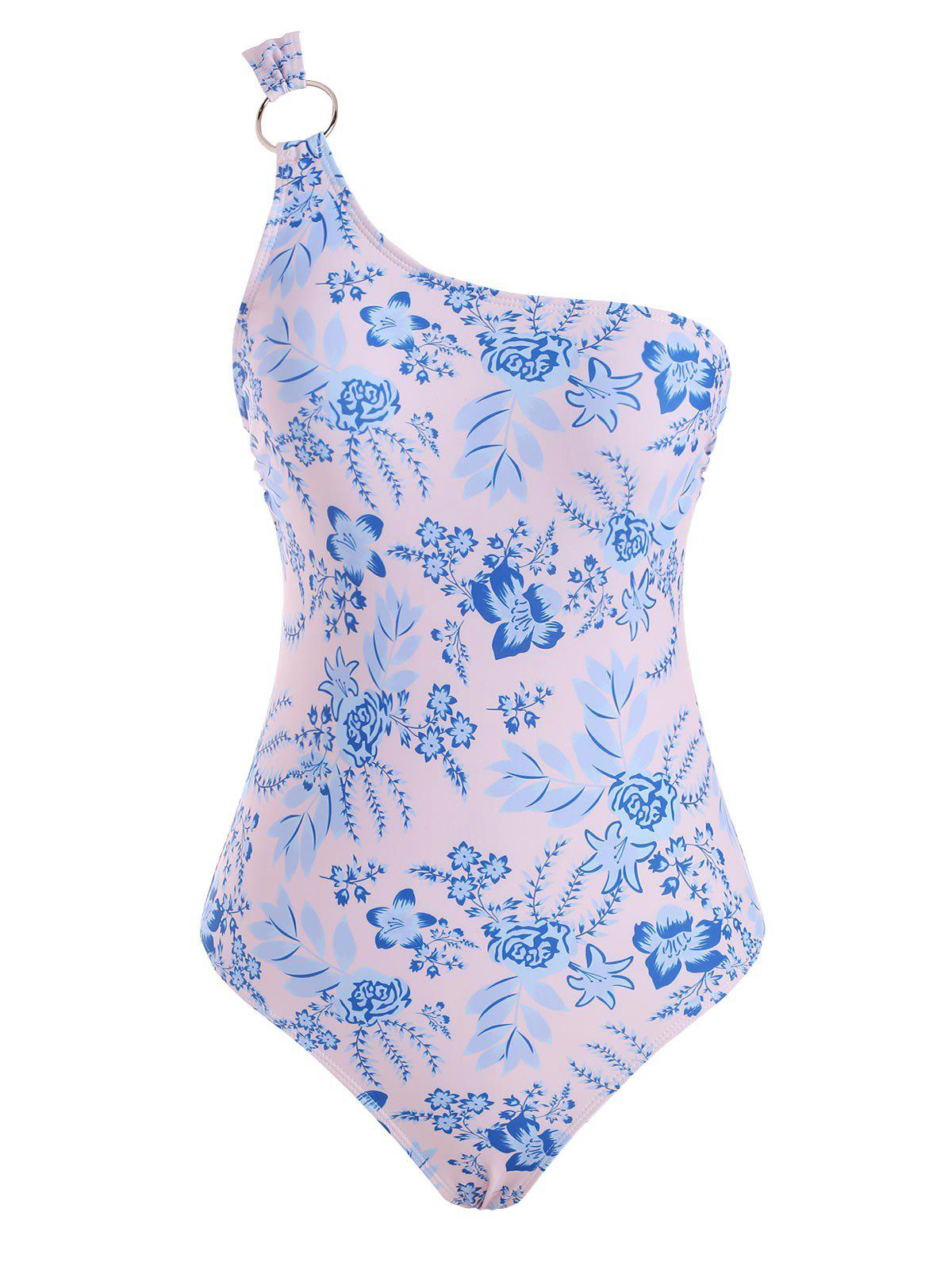 Online Floral Print O Ring One Shoulder One-piece Swimsuit