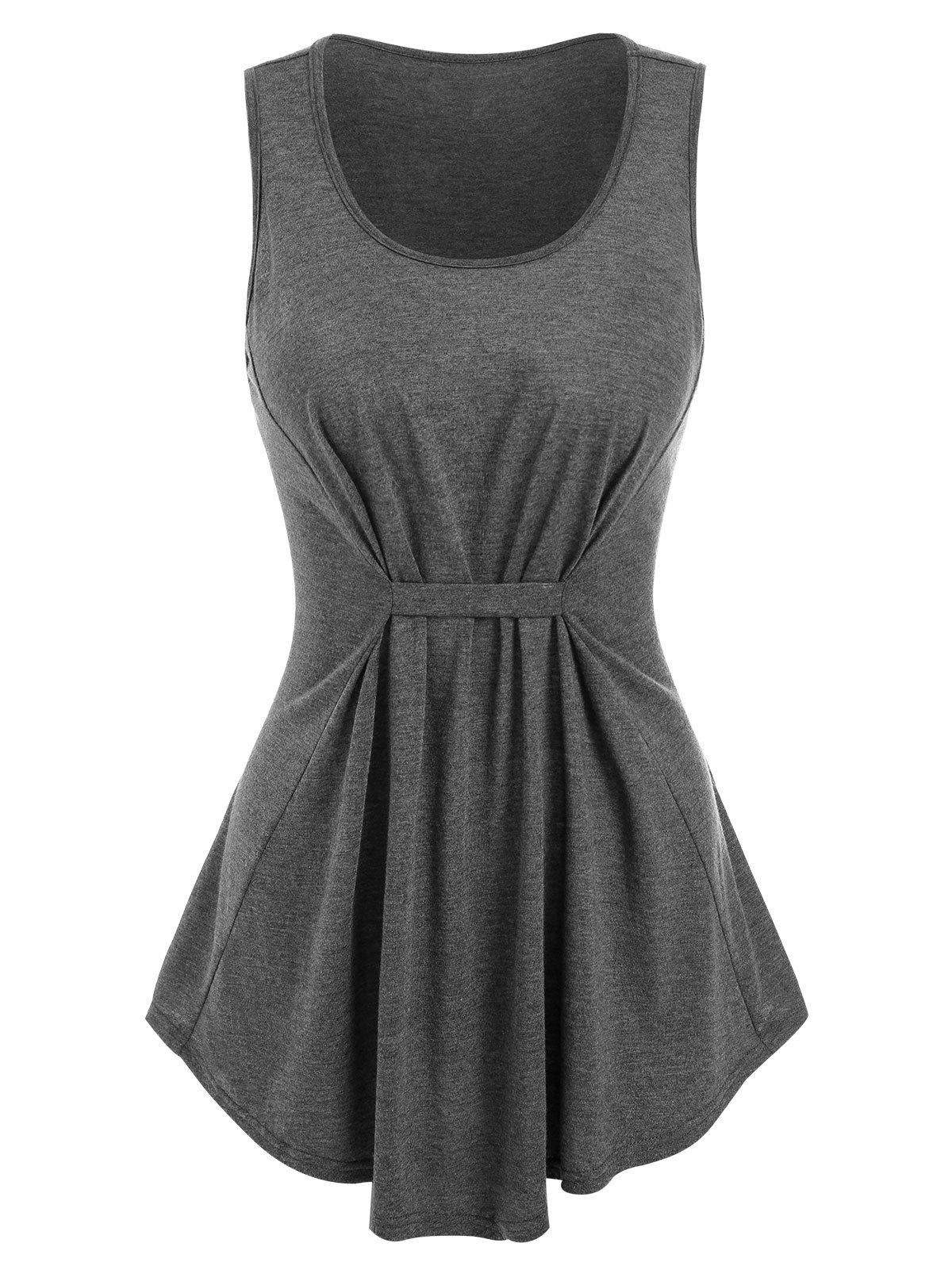 Fancy Gathered Heathered Tank Top