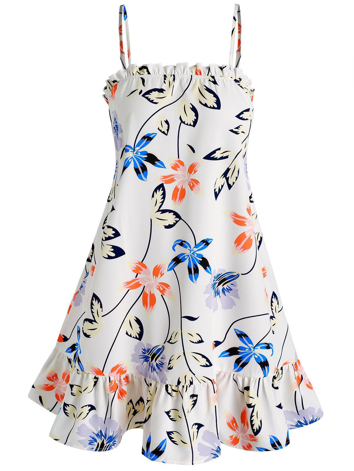 Best Flower and Leaves Print Cami Dress