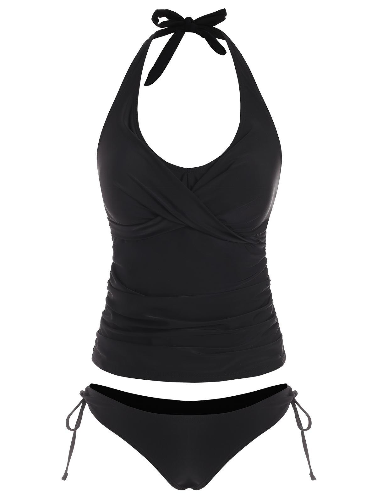 Outfit Twisted Halter Ruched Tie Side Tankini Swimwear