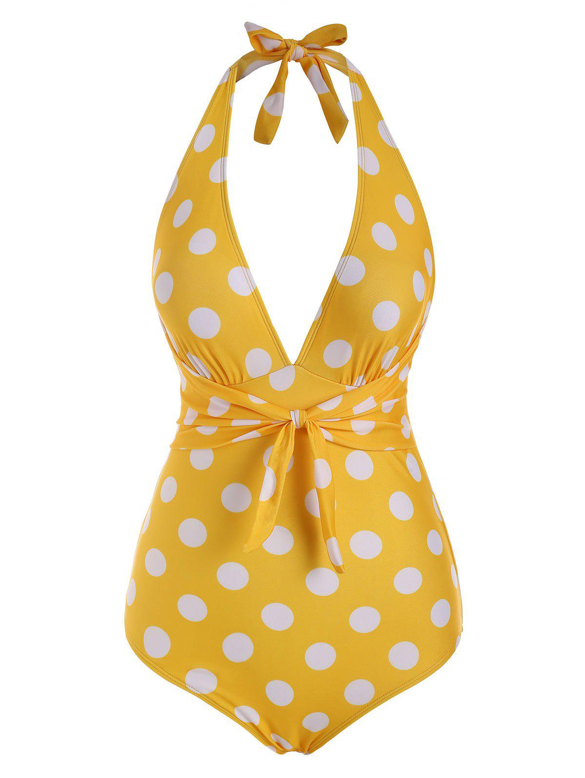 Sale Tied Plunge Front Polka Dot Halter One-piece Swimsuit