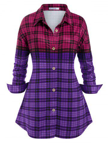 Talla grande ColorBlock Plaid Button Up Camisa - CONCORD - 5X