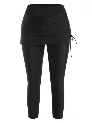 Cinched Tie Skirted Cropped Swim Pants - BLACK - L