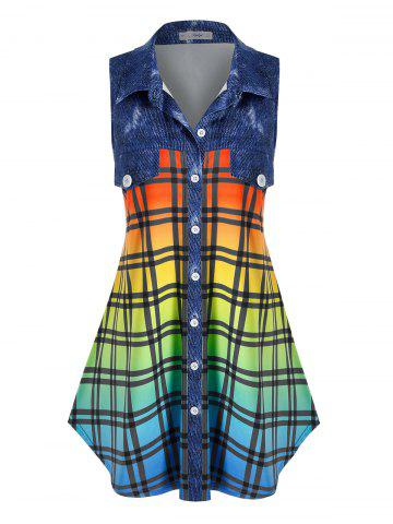 Plus Size Sleeveless Flap Detail Ombre Color Plaid Blouse