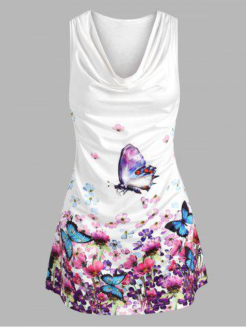 Plus Size Draped Floral Butterfly Print Racerback Tunic Tank Top - WHITE - 2X