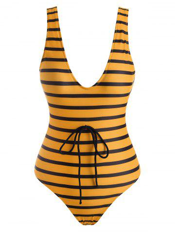 Scoop Striped Low Back One-piece Swimsuit