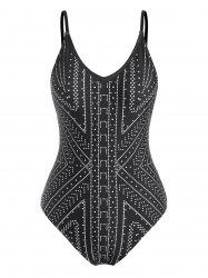 Spotted Geometric Pattern One-Piece Swimsuit -