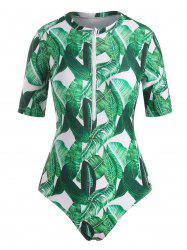 Palm Leaf Print Short Sleeve One-Piece Swimsuit -