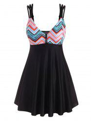 Zig Zag Print Strappy Cut Out Tankini Swimwear -