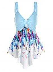 Feather Print Point Hem Ruched Tank Top -