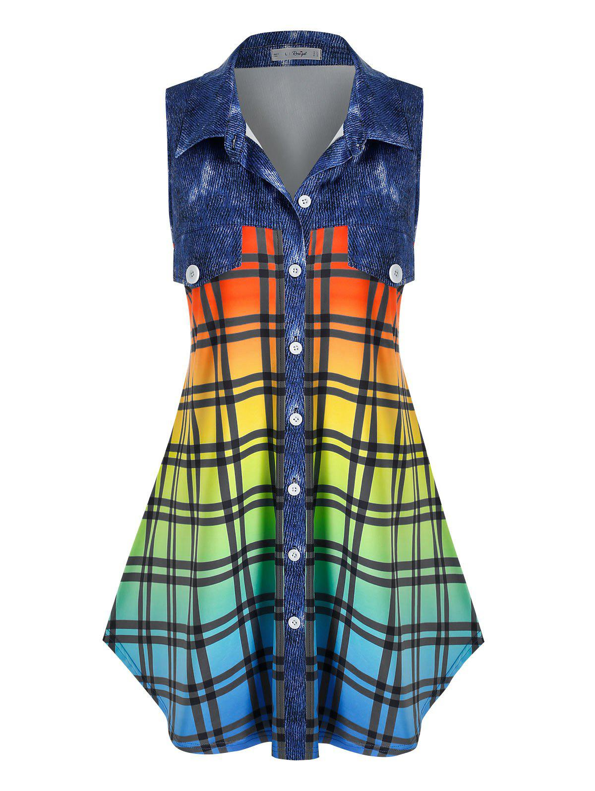 Fashion Plus Size Sleeveless Flap Detail Ombre Color Plaid Blouse