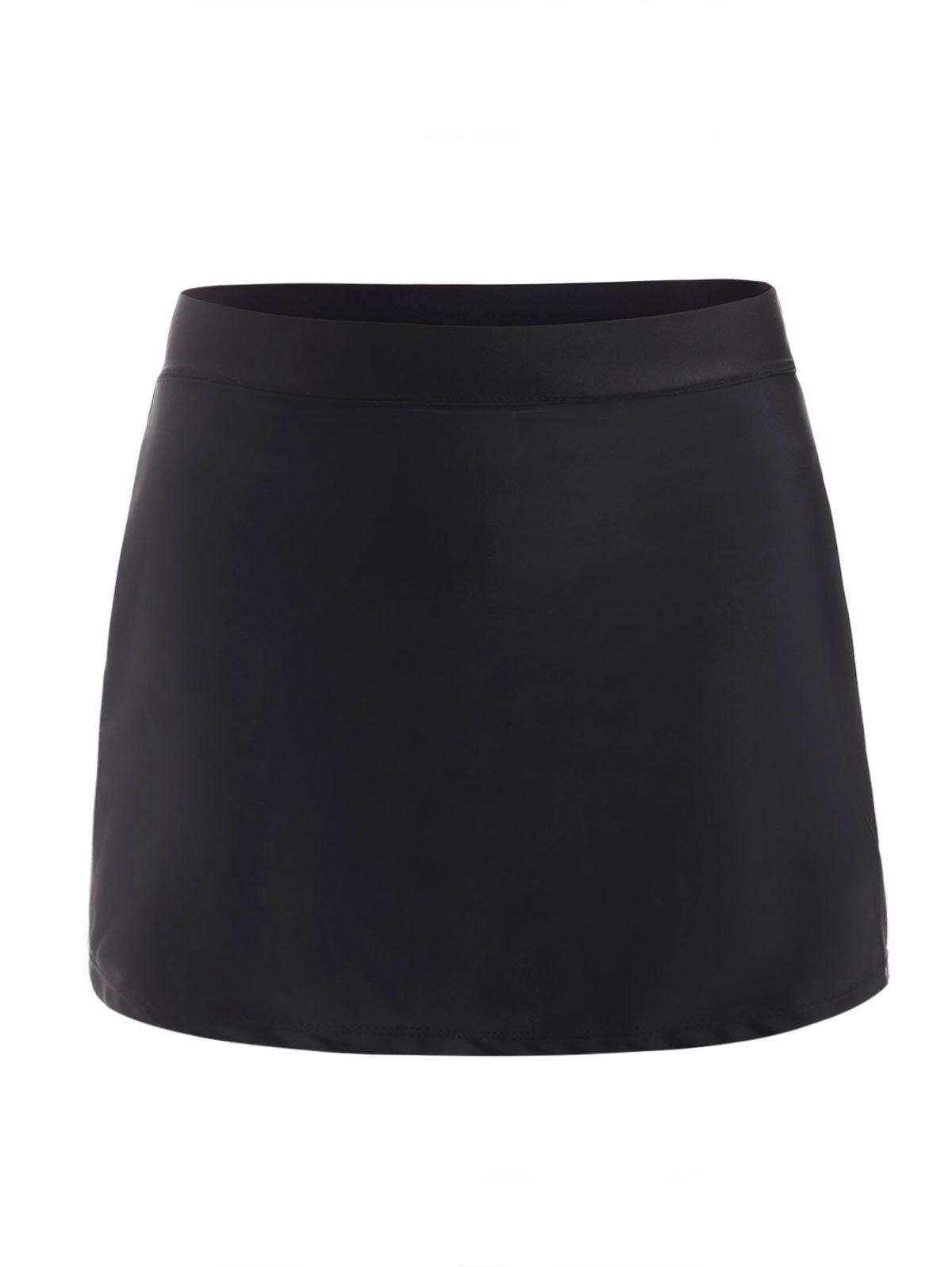Buy High Waisted Plain Modest Mini Swim Skort