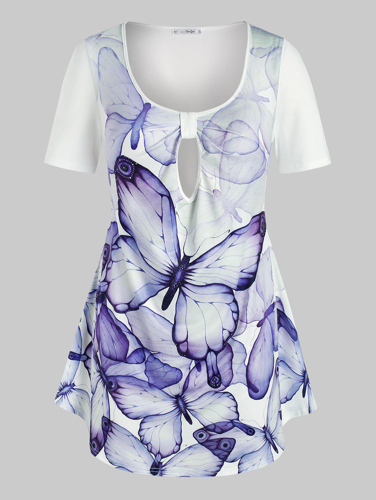 Outfits Plus Size Butterfly Print Keyhole T-shirt