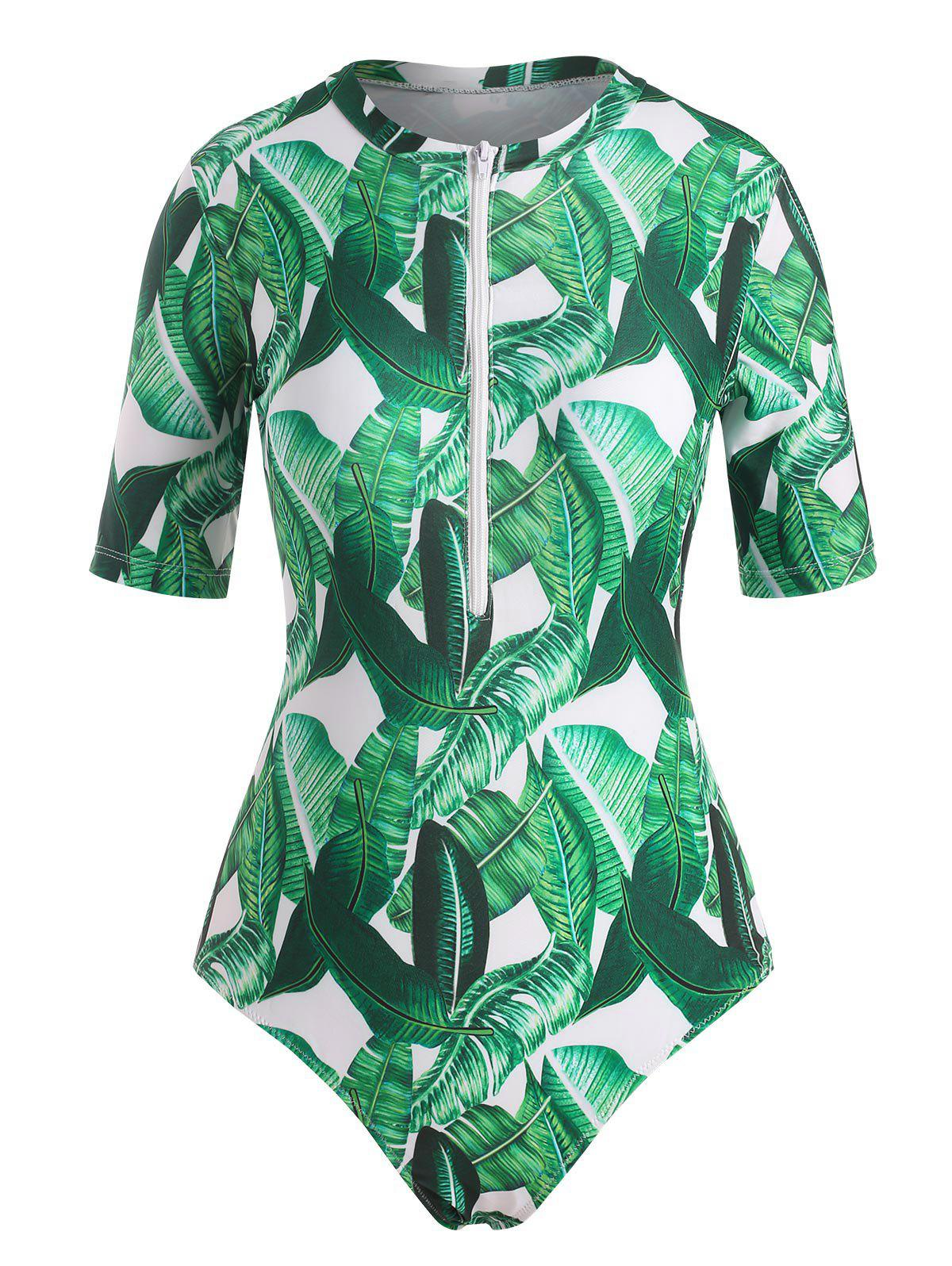 Chic Palm Leaf Print Short Sleeve One-Piece Swimsuit