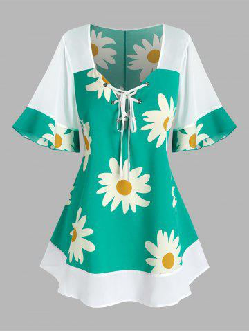 Plus Size Flower Print Flare Sleeve Lace Up Blouse - LIGHT GREEN - 5X