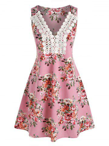 Floral Printed Embroidery Lace Dress