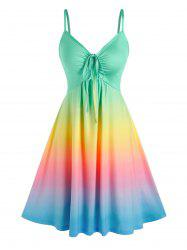 Rainbow Color Gradient Slip Dress -