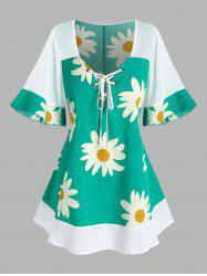 Plus Size Flower Print Flare Sleeve Lace Up Blouse -
