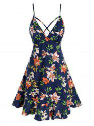 Strappy Floral Printed Flounce Sundress -