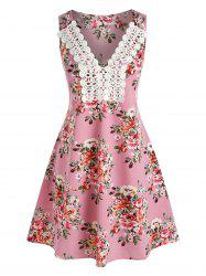 Floral Printed Embroidery Lace Dress -