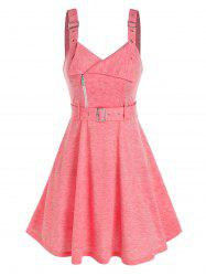 Buckle Strap Sleeveless Heathered Belted Dress -